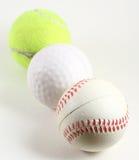 Tres bolas de los deportes Imágenes de archivo libres de regalías