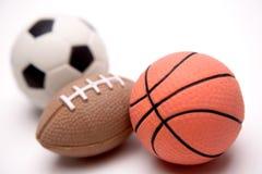 Tres bolas de los deportes Foto de archivo libre de regalías