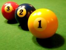 Tres bolas de piscina Fotos de archivo