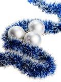 Tres bolas de plata de la Navidad Imagenes de archivo