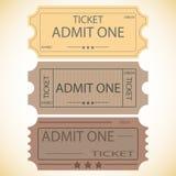 Tres boletos. Imagen de archivo libre de regalías
