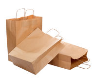 Tres bolsas de papel ecológicas Imagen de archivo libre de regalías
