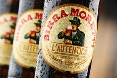 Tres botellas de Birra Moretti Foto de archivo libre de regalías