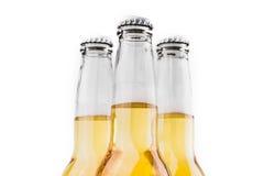 Tres botellas de cerveza aisladas en blanco Fotografía de archivo libre de regalías
