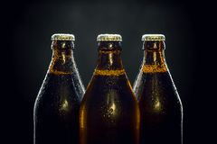 Tres botellas de cerveza frescas en negro fotografía de archivo