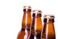 Tres botellas de cerveza helada aisladas en blanco Imagen de archivo libre de regalías