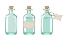 Tres botellas de cristal azules Ilustración del vector Foto de archivo libre de regalías