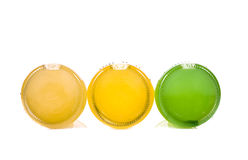 Tres botellas de limonada Foto de archivo libre de regalías