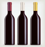 Tres botellas de vino Fotografía de archivo libre de regalías