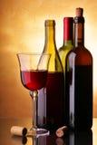Tres botellas de vino Fotos de archivo libres de regalías