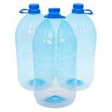 Tres botellas grandes de agua (trayectoria de recortes) Imágenes de archivo libres de regalías