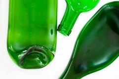 Tres botellas planas verdes Foto de archivo