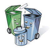 Tres botes de basura cómicos Imágenes de archivo libres de regalías