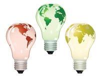 Tres bulbos eléctricos con las correspondencias ilustración del vector