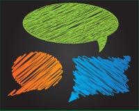 Tres burbujas coloridas del discurso del vector del estilo del garabato Fotografía de archivo