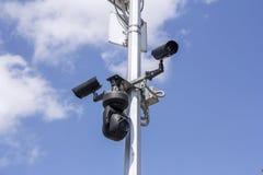 Tres cámaras de seguridad Imagen de archivo