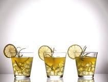 Tres cócteles amarillos con el limón y el romero que se colocan sobre el vidrio en estudio Fotografía de archivo libre de regalías