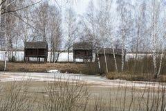 Tres cabinas de madera Fotografía de archivo libre de regalías