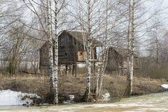 Tres cabinas de madera Fotos de archivo