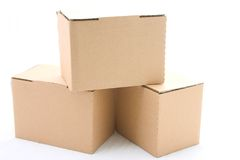 Tres cajas de cartón Fotos de archivo libres de regalías