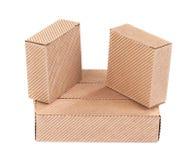 Tres cajas de cartón acanalado. Imagen de archivo
