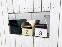Tres cajas del correo, 123 Foto de archivo libre de regalías