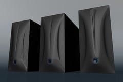 Tres cajas negras 01 del ordenador Fotos de archivo libres de regalías