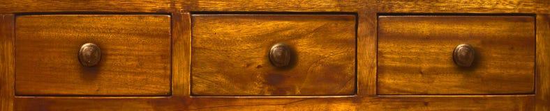 Tres cajones de madera Fotografía de archivo libre de regalías