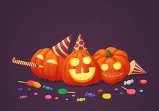 Tres calabazas felices en sombreros del partido con el escape y los dulces del partido ilustración del vector