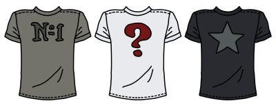 Tres camisas impresas funy ilustración del vector