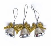 Tres campanas de la Navidad de plata Imagen de archivo