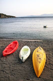 Tres canoas Imagen de archivo libre de regalías