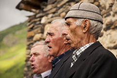 Tres cantantes svanetian Foto de archivo libre de regalías