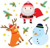 Tres caracteres divertidos de la Navidad Foto de archivo libre de regalías