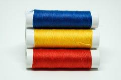 Tres carretes de cuerda de rosca Fotografía de archivo