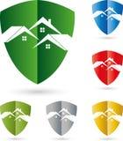 Tres casas, tejados, escudo de armas, logotipo de las propiedades inmobiliarias stock de ilustración