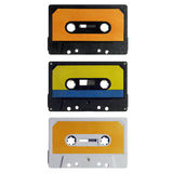 Tres cassettes viejos aislados en blanco Fotos de archivo