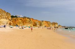 Tres Castelos plaża w Portimao, Algarve, Portugalia Obrazy Stock
