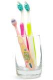 Tres cepillos de dientes Imagen de archivo libre de regalías