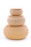 Tres cestas de mimbre de los pedazos imágenes de archivo libres de regalías
