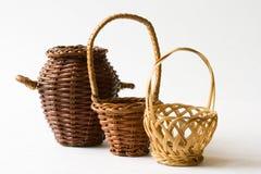 Tres cestas tejidas Imagen de archivo libre de regalías