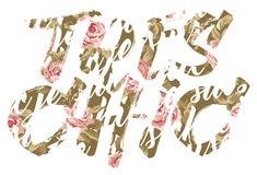 Tres chic roses lettering. Vector print for woman girl wear royalty free illustration