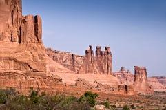 Tres chismes, arcos parque nacional, Utah Foto de archivo libre de regalías