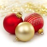 Tres chucherías de la Navidad Foto de archivo libre de regalías