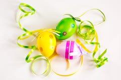 Tres cintas de los huevos de Pascua, verdes y amarillas Imagen de archivo