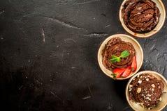 Tres clases de helado de chocolate Fotos de archivo libres de regalías