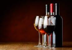 Tres clases de vino Imagen de archivo