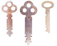 Tres claves esqueléticos gastados Foto de archivo