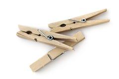 Tres clavijas de madera imagenes de archivo