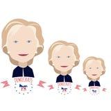Tres Clinton en un blanco Imágenes de archivo libres de regalías